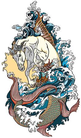 mythologische zee paard hippocampus of hippocamp. Tattoo vector illustratie Vector Illustratie