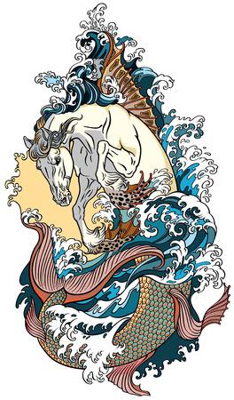 mythological sea horse hippocampus or hippocamp. Tattoo vector illustration