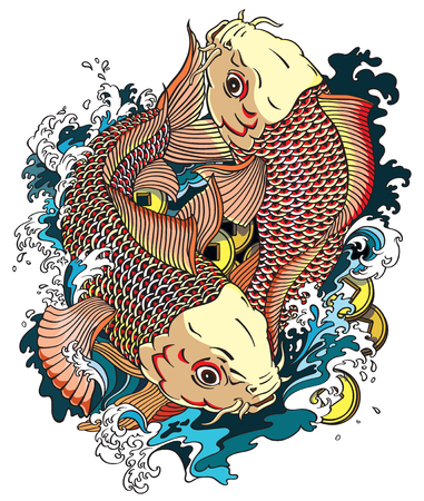 Two japanese carp koi gold fishes in the water pool with money coins. Japanese style tattoo drawing vector illustration Illustration