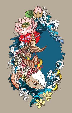 鯉金鯉が泳ぐ。蓮のお花の水スプラッシュおよび feng shui のお金コイン。図面の図タトゥー スタイル