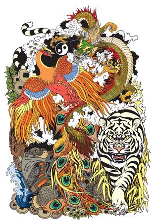 Feng shui dierlijke symbolen van geluk in de Chinese mythologie, ontwerpsjabloon illustratie.
