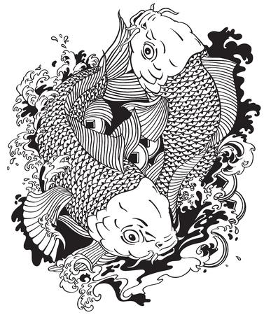 Koi Gold Carp Fish With, Design Template Illustration. Royalty Free ...