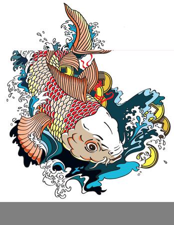 carpa giapponese koi pesce d'oro nuotare in uno stagno con monete denaro feng shui. Illustrazione vettoriale stile tatuaggio