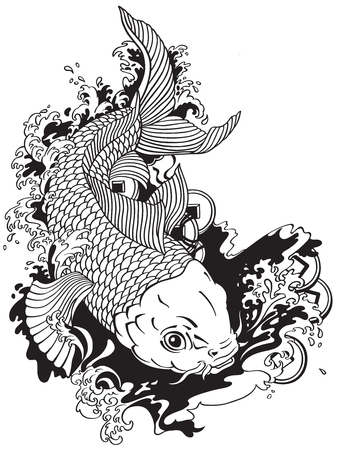 japanische Karpfen Koi Goldfische schwimmen in einem Teich mit Feng Shui Geldmünzen Tätowierungsart-Schwarzweiss-Vektorillustration