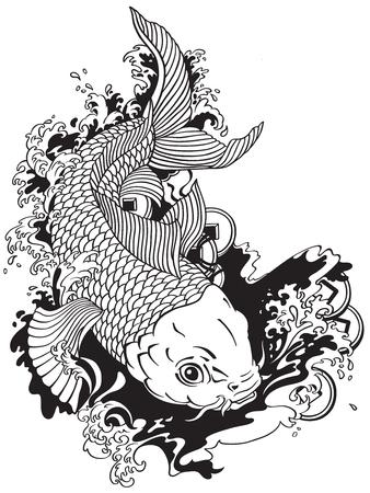 Japanse karper Koi goudvis zwemmen in een vijver met feng shui geld munten. Tattoo stijl zwart-wit vectorillustratie