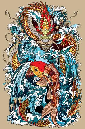 dragão dourado e carpa de carpas koi que está tentando alcançar o topo da cachoeira. Ilustração do vetor do estilo tatuagem de acordo com o antigo mito chinês e japonês Ilustración de vector