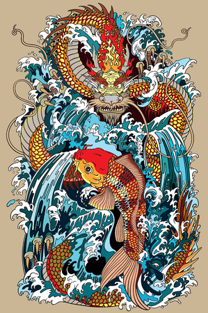 golden dragon and koi carp fish which is trying to reach the top of the waterfall. Tattoo style vector illustration according to ancient Chinese and Japanese myth Ilustracja