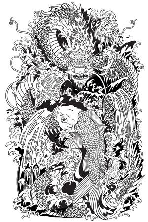 Aziatische draak en koi-karpervissen die de top van de waterval probeert te bereiken. Zwart-witte tattoo-stijl vectorillustratie volgens oude Chinese en Japanse mythe