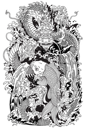 Asian dragon and koi carp fish which is trying to reach the top of the waterfall. Black and white tattoo style vector illustration according to ancient Chinese and Japanese myth