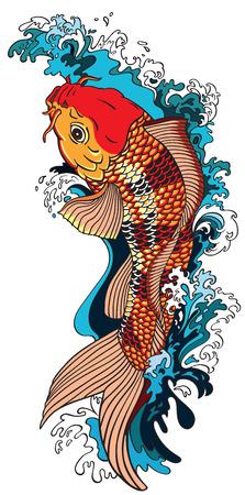 karpia złota ryba pływanie w górę rzeki. Ilustracji wektorowych styl tatuaż rysunek