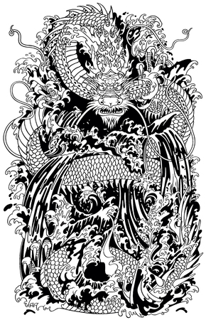 Japanese water dragon a traditional mythological deity creature in the sea or river splashes. Black and white tattoo style vector illustration