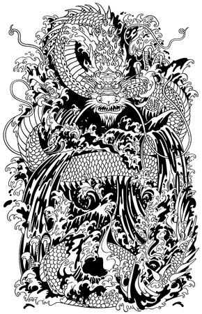 Le dragon d'eau japonais, créature mythologique traditionnelle dans la mer ou la rivière, éclabousse. Illustration vectorielle de tatouage noir et blanc style Banque d'images - 90965770