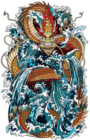 Dragón de agua japonés una criatura de la deidad mitológica tradicional en el mar o el río salpica. Ilustración de vector de estilo de tatuaje.