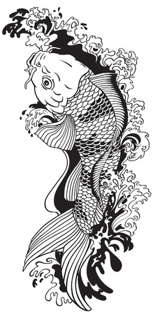 Koi carp gold fish swimming upstream. Black and white vector illustration tattoo style drawing.