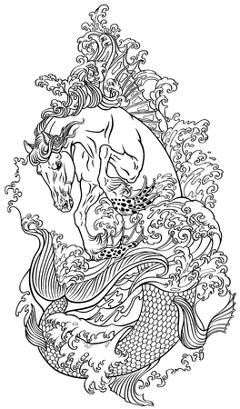 mythological sea horse hippocampus or hippocamp in the water. Outline vector illustration coloring page Illustration