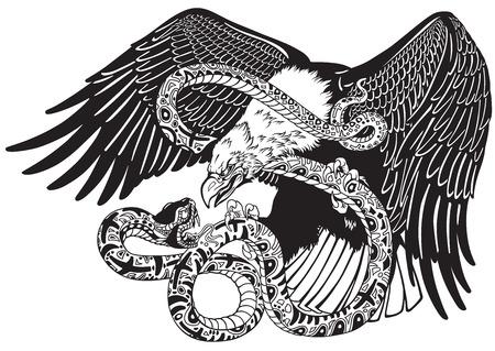 Adelaar die tegen een slangenslang vecht. Zwart en wit tattoo stijl vector illustratie