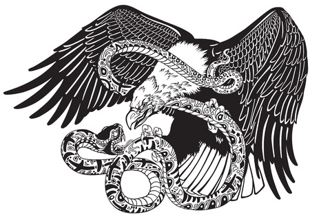 Eagle battling a snake serpent. Black and white tattoo style vector illustration Stock Illustratie
