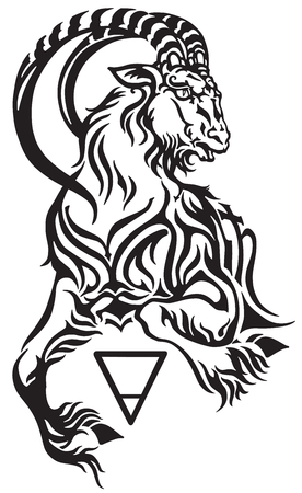 Capricorn zodiac sign, tribal tattoo style mythological creature. Astrological sea goat including symbols of Saturn planet and earth. Black and white vector illustration.