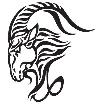 Ícone de Capricórnio, cabeça de cabra do mar mitológico. Sinal astrológico do estilo tribal da tatuagem, ilustração preto e branco do vetor.