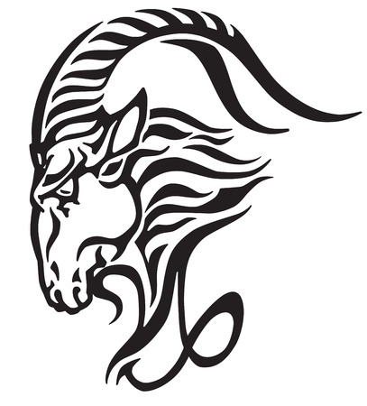 Capricorn icon, head of mythological sea goat. Tribal tattoo style astrological sign, black and white vector illustration.