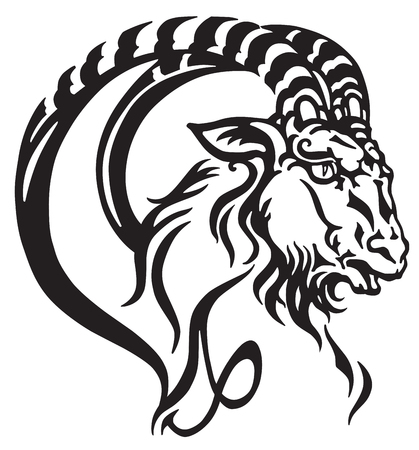 capricorn logo. Head of mythological sea goat. Tribal tattoo style astrological sign . Black and white vector illustration