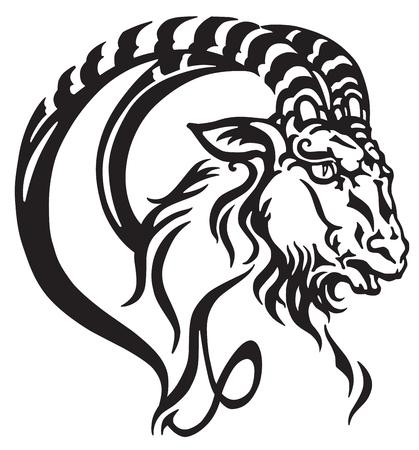 Steenbok logo. Hoofd van mythologische zeegeit. Tribal tattoo stijl astrologisch teken. Zwart en wit vector illustratie Stock Illustratie