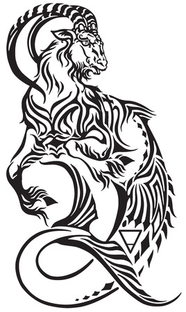Capricorn zodiac sign. Tribal tattoo style mythological creature. Astrological sea goat including symbols of Saturn planet and earth Vettoriali