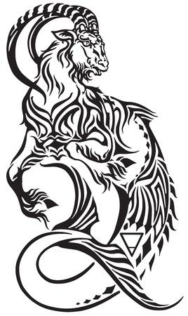 Steenbok sterrenbeeld. Tribal tattoo-stijl mythologisch wezen. Astrologische zeegeit inclusief symbolen van Saturnus-planeet en aarde