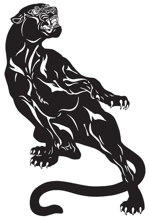 Angry black panther. Attacking pose . Black and white tattoo vector illustration