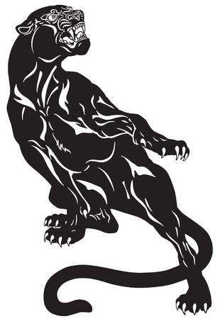 Panthère noire en colère. Pose d'attaque. Illustration vectorielle de tatouage noir et blanc