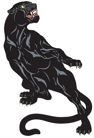 Angry black panther. Attacking pose . Tattoo vector illustration Çizim