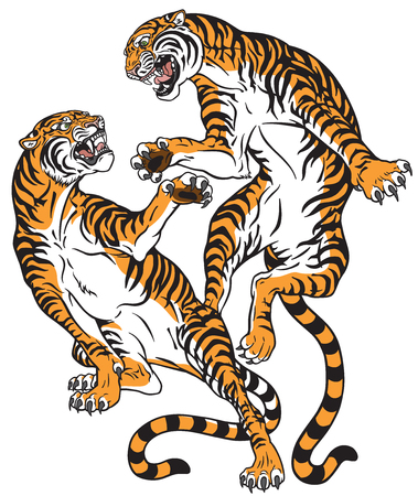 Pair of tigers in the battle, two fighting big cats. Tattoo style vector isolated illustration. Stock Illustratie