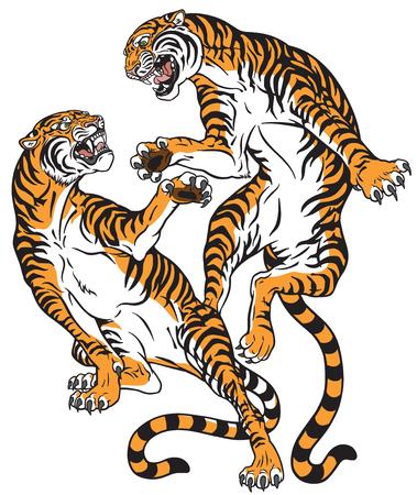 Twee tijgers in de strijd, twee vechtende grote katten. Tattoo stijl vector geïsoleerde illustratie. Vector Illustratie