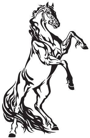 Horse head tribal tattoo, logo, icon . Black and white vector illustration