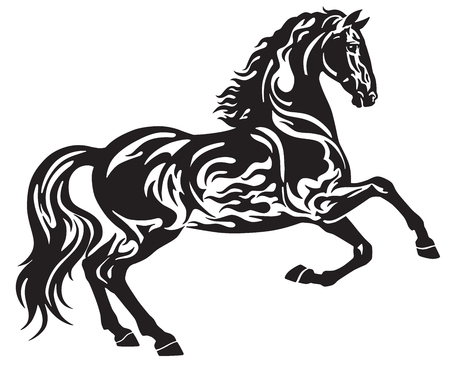 The black stallion horse in free movement . Side view silhouette . Tribal tattoo, logo, icon style vector illustration isolated on the white background