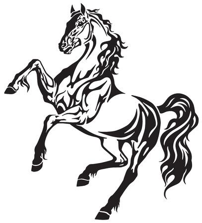 L'étalon de cheval dans le mouvement libre d'élevage. Illustration vectorielle noir et blanc de style élégant tatouage tribal Banque d'images - 94684041