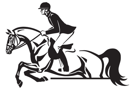 Horse and rider jumping over an obstacle, in Side view black and white vector illustration. 向量圖像