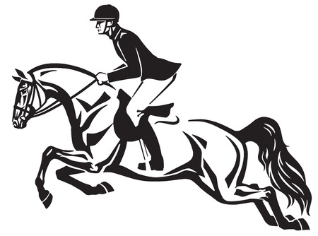 Horse and rider jumping over a fence.Equestrian stadium showjumping .Black and white side view isolated vector illustration.