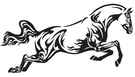 Flaming horse in the jump . Side view tribal tattoo style vector illustration . Black and white