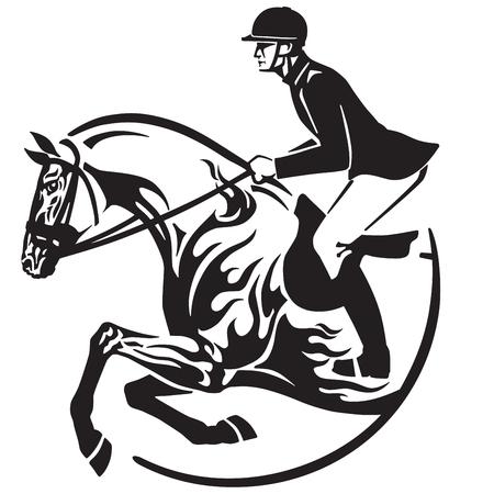 Equestrian sport  in black and white vector Stock Illustratie