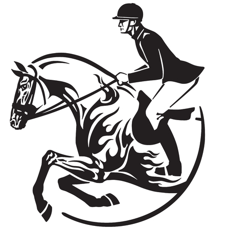 Equestrian sport  in black and white vector Illustration