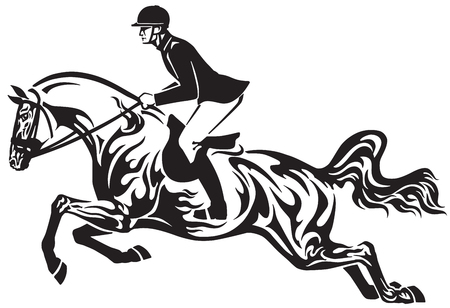 Horse show jumping. Equestrian sport competition. Horseman rider controls a horse jumping over an obstacle. Black and white side view vector illustration in the tribal tattoo style.