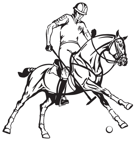 Equestrian polo sport . Player riding a pony horse and holding a mallet stick to hit a ball .The horse in gallop . Stock Vector - 96120090