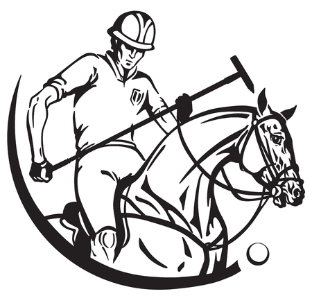 Equestrian polo player and pony horse. Sportsman sitting on horseback and holding a mallet stick. Equine sport emblem badge . Black and white vector illustration