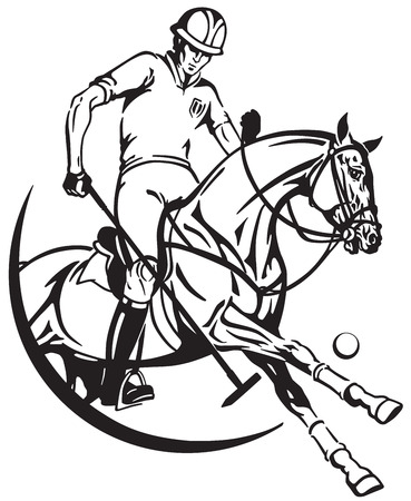 A polo player sitting on a pony horseback and holding a long handled wooden mallet to hit a ball . Stock Vector - 96120132