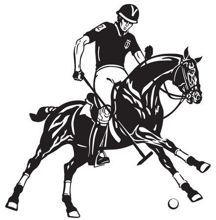 polo player riding a pony horse and holding a mallet stick to hit a ball .The  horse in gallop .Equestrian sport Black and white vector illustration Иллюстрация