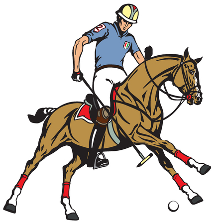 equestrian polo sport . Player riding a pony horse and holding a mallet stick to hit a ball .The  horse in gallop . Vector illustration