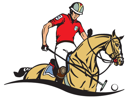 Equestrian polo player and pony horse . Horseman sitting on a horseback and holding a long handled wooden mallet sick to hit a ball . Equine sport emblem badge . Vector illustration
