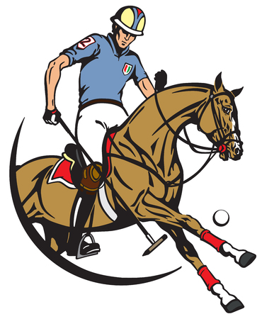A polo player sitting on a pony horseback and holding a long handled wooden mallet to hit a ball . The horse in gallop. Equestrian sport . Vector illustration Illustration