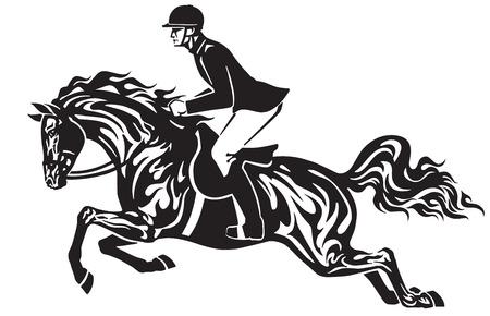 Salto a cavallo. Competizione sportiva equestre. Il cavaliere del cavaliere controlla un cavallo che salta sopra un ostacolo. Illustrazione in bianco e nero di vettore di vista laterale nello stile tribale del tatuaggio. Archivio Fotografico - 96316013